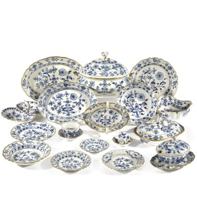 """View 2. Thumbnail of Lot 40. A Meissen """"Onion"""" pattern blue and white part dinner service, circa 1900."""