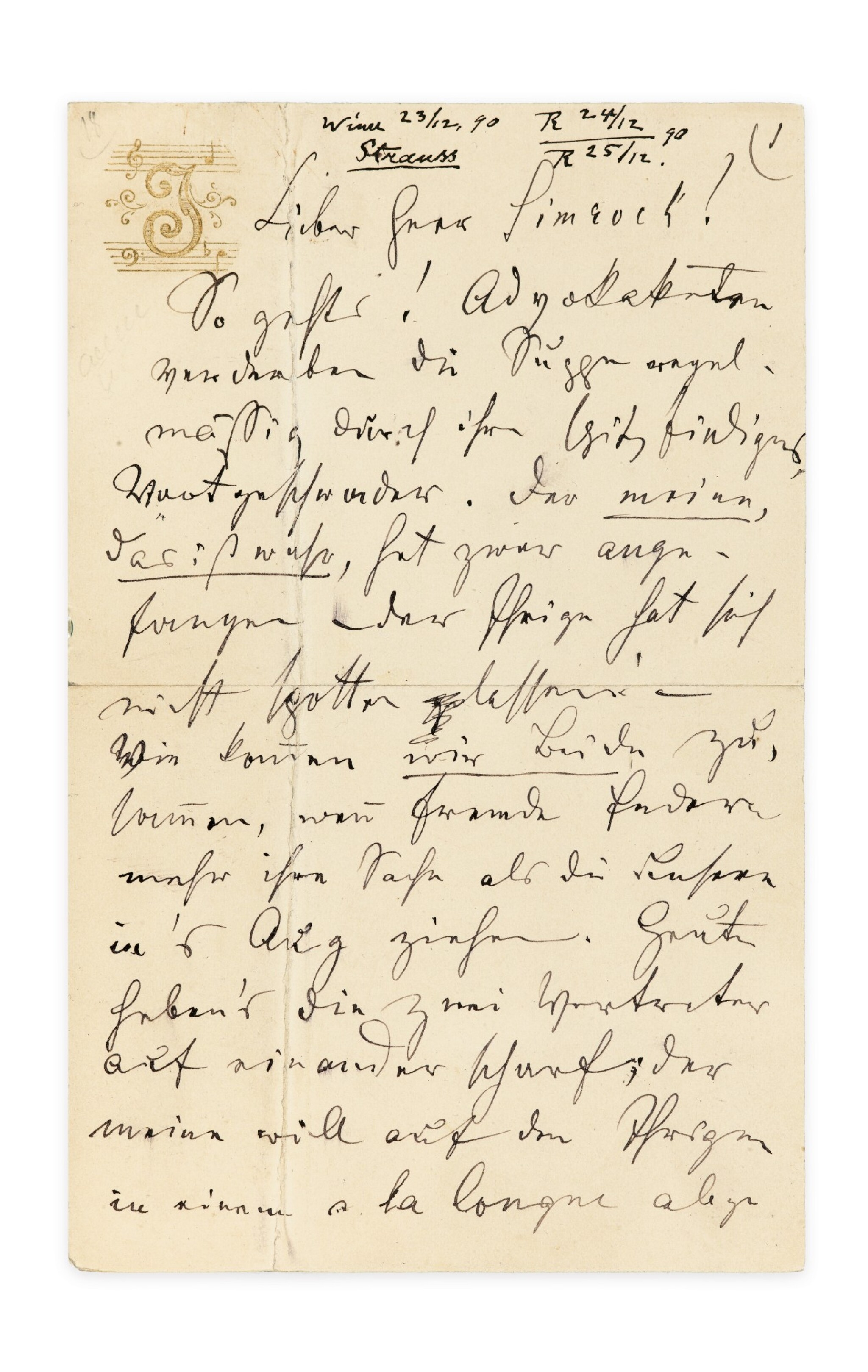 View 1 of Lot 138. STRAUSS. Lettre autographe, en allemand, à Fritz Simrock , Vienne [23 décembre 1890]. 6 pages in-12..