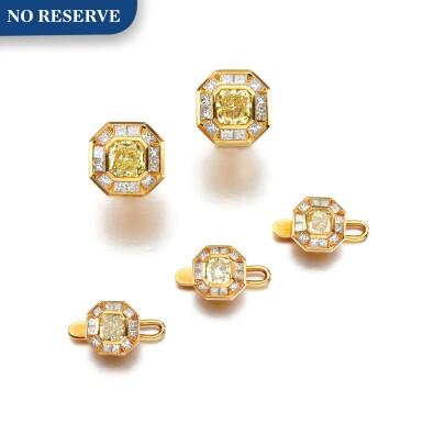 View 1. Thumbnail of Lot 171. Diamond and coloured diamond dress set.