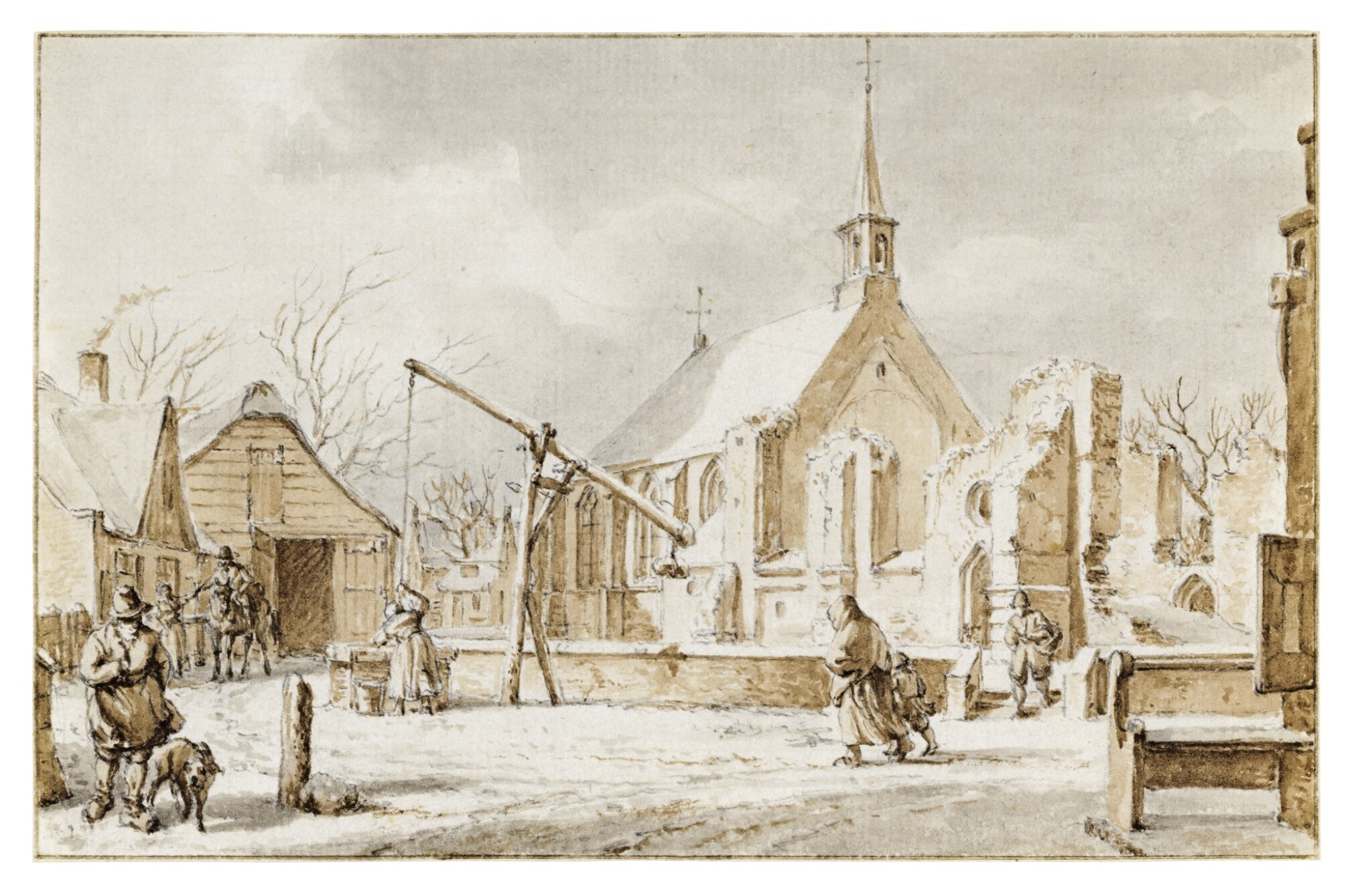 View full screen - View 1 of Lot 39. The Month of December: View of a Village in the Snow.