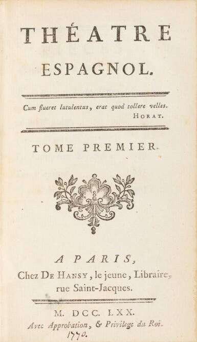 View 2. Thumbnail of Lot 94. Théâtre espagnol et Oeuvres de Moncrif. Des bibliothèques de la comtesse de Provence et de Jules Janin.