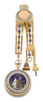 ROBIN A PARIS   GOLD, ENAMEL AND PEARL-SET WATCH WITH CHATELAINE, CIRCA 1790