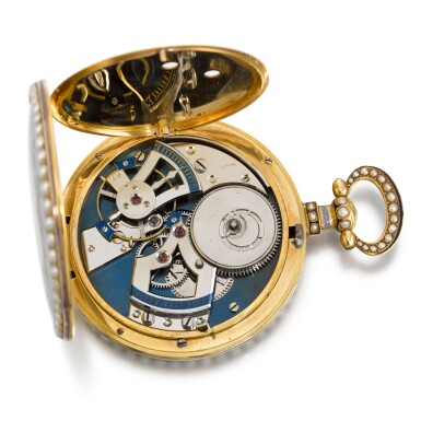 View 7. Thumbnail of Lot 292. BOVET FLEURIER | A PAIR OF GOLD, ENAMEL AND PEARL-SET WATCHES MADE FOR THE CHINESE MARKET, CIRCA 1825, NO. 176.