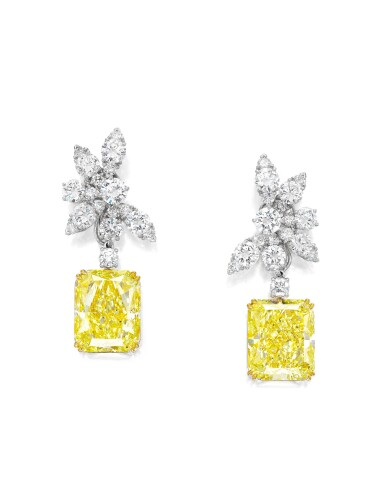 View 1. Thumbnail of Lot 1717. PAIR OF FANCY YELLOW DIAMOND AND DIAMOND PENDENT EARRINGS, THE TOPS BY VAN CLEEF & ARPELS | 梵克雅寶 鑽石耳環 配 17.64及17.54卡拉 彩黃色 內部無瑕(IF)鑽石耳墜一對.