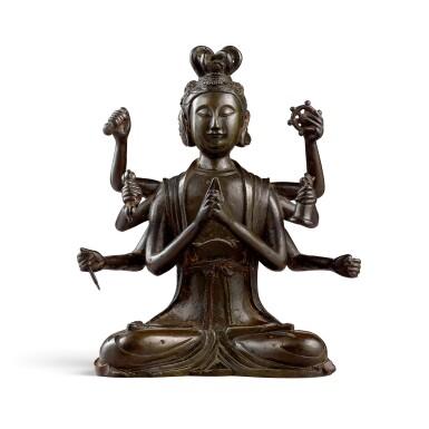 View 1. Thumbnail of Lot 3668. A rare gilt-lacquer bronze figure of Marici Yuan dynasty | 元 銅漆金摩利支天菩薩坐像.