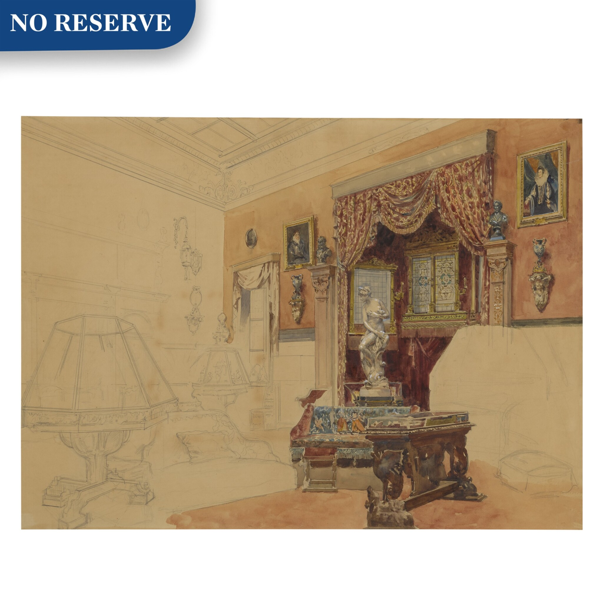View full screen - View 1 of Lot 166. An unfinished study of an elegant interior.