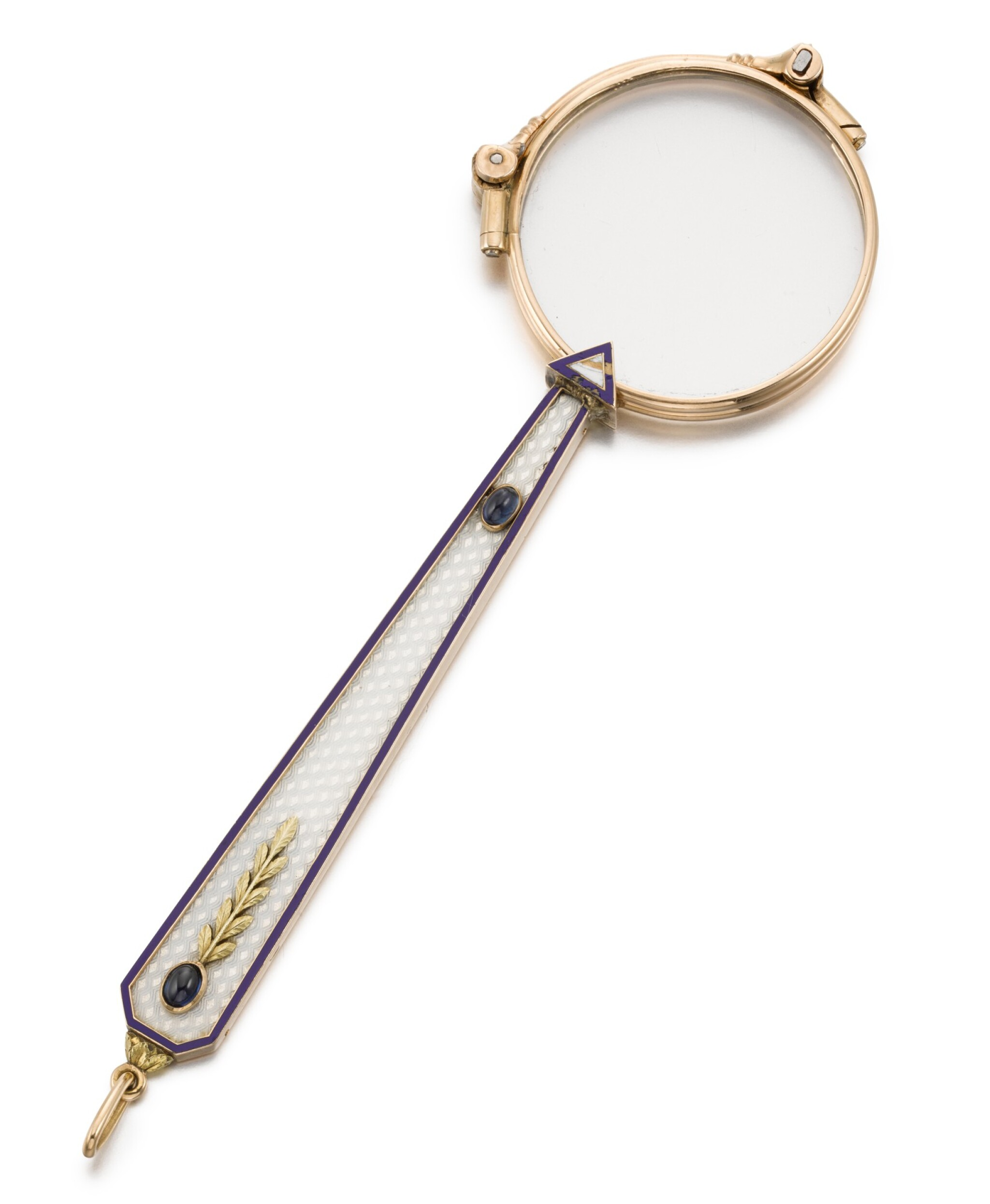 View full screen - View 1 of Lot 81. A Fabergé jewelled and guilloché enamel gold-mounted lorgnette, workmaster Henrik Wigström, St Petersburg, circa 1904.