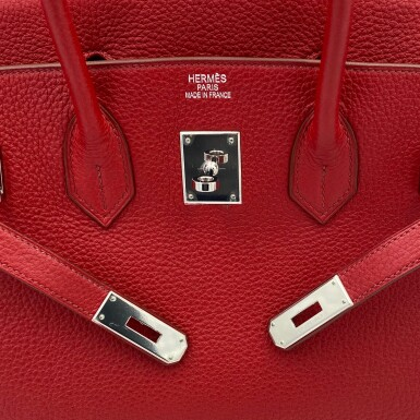 View 8. Thumbnail of Lot 723. HERMÈS   ROUGE GRENATE BIRKIN 35 IN TOURILLON CLEMENCE LEATHER WITH PALLADIUM HARDWARE, 2008.