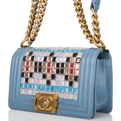 View 5. Thumbnail of Lot 29. Chanel Blue Metiérs d'Art Mosaic Embroidered Small Boy Bag of Lambskin Leather with Antiqued Gold Tone Hardware.