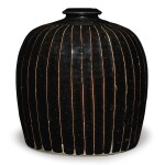 A black-glazed 'ribbed' 'tulu' vase, Northern Song / Jin dynasty | 北宋 / 金 黑釉棱線紋小口瓶