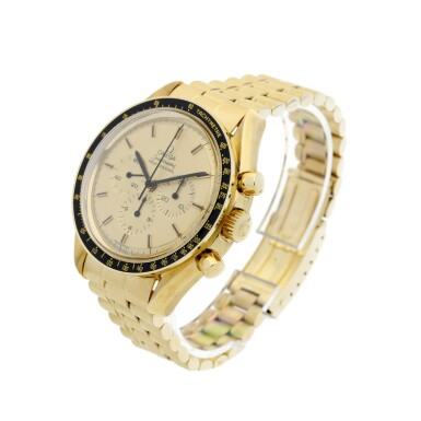 View 2. Thumbnail of Lot 77. REFERENCE 145.022-69 SPEEDMASTER APOLLO XI 1969 A LIMITED EDITION YELLOW GOLD CHRONOGRAPH WRISTWATCH WITH BRACELET, A SELECTION OF WHICH WERE GIFTED TO ASTRONAUTS AND PERSONALITIES, CIRCA 1969.