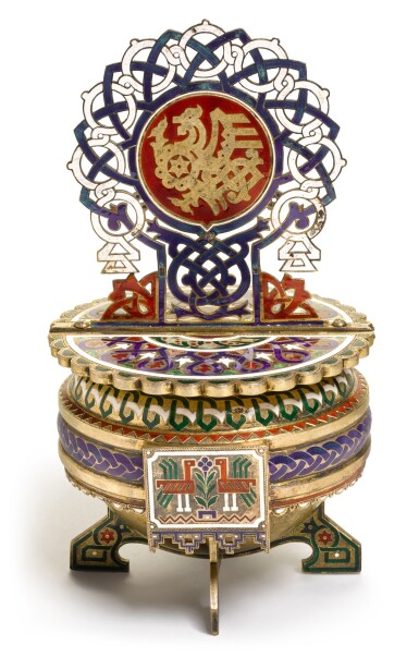 View 2. Thumbnail of Lot 164. A silver-gilt and champlevé enamel salt throne, A.M. Postnikov partnership, Moscow, 1877.
