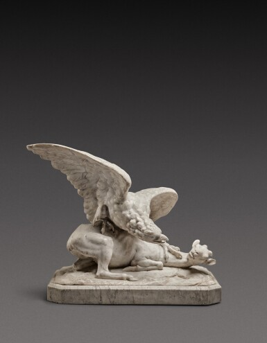 View 1. Thumbnail of Lot 131. Italian, probably Rome, first half 19th century | Eagle attacking a Goat.