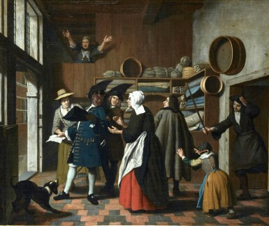 View 1. Thumbnail of Lot 235. JAN JOSEF HOREMANS THE YOUNGER | THE DEVIL AS A TAX-COLLECTOR, BEING EXPELLED FROM A STORE.