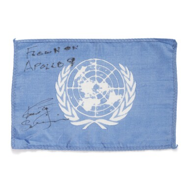 [APOLLO 9]. FLOWN ON APOLLO 9. UNITED NATIONS FLAG FROM THE COLLECTION OF RUSSELL SCHWEICKART