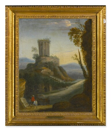 View 2. Thumbnail of Lot 92. Sold Without Reserve   FOLLOWER OF HERMAN VAN SWANEVELT, 18TH CENTURY   LANDSCAPE WITH HORSEMAN AND CLASSICAL RUINS BEYOND.