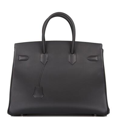 View 2. Thumbnail of Lot 32. Hermès Black Shadow Birkin 35cm of Swift Leather.