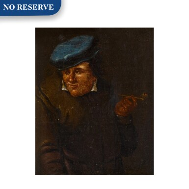 View 1. Thumbnail of Lot 33. Portrait of a man with a pipe and blue hat.
