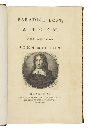 MILTON, JOHN   Paradise Lost. Glasgow: Robert & Andrew Foulis, 1770
