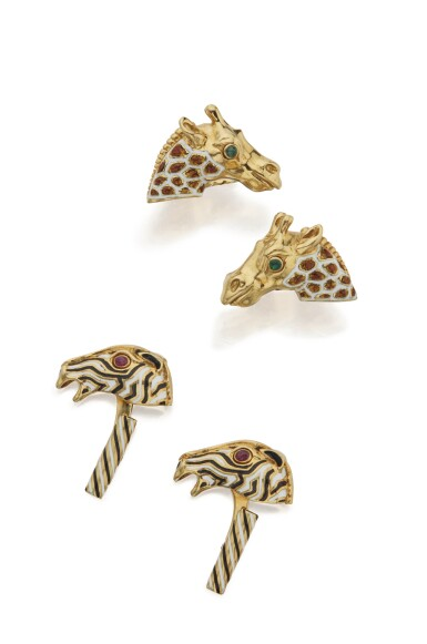 TWO PAIRS OF GOLD, ENAMEL AND GEM-SET CUFFLINKS, DAVID WEBB