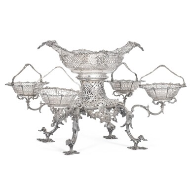 View 1. Thumbnail of Lot 85. A George III silver epergne, Thomas Pitts, London, 1763.