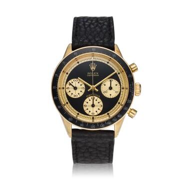 View 1. Thumbnail of Lot 220. Reference 6241 Daytona Paul Newman 'John Player Special'  A yellow gold chronograph wristwatch, Circa 1968.