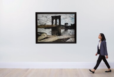 View 3. Thumbnail of Lot 20. 'Tent-Camera Image on Ground - Rooftop View of the Brooklyn Bridge'.