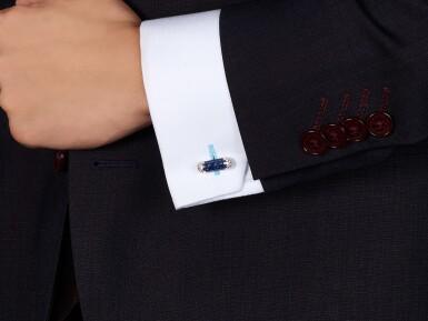 View 4. Thumbnail of Lot 1108. Pair of Sapphire and Diamond Cufflinks | 格拉夫| 藍寶石 配 鑽石 袖扣一對 (藍寶石及鑽石共重約4.70及2.30克拉).