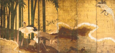 ANONYMOUS, MOMOYAMA PERIOD, LATE 16TH CENTURY | CRANES IN BAMBOO
