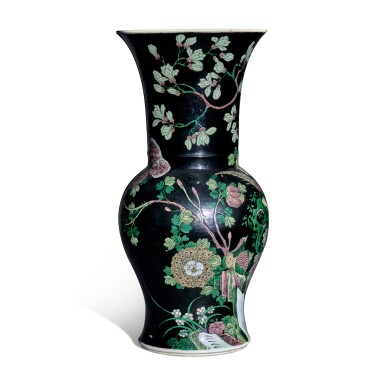 View 4. Thumbnail of Lot 12. A famille-noire 'bird and flower' yenyen vase, Qing dynasty, 19th century.