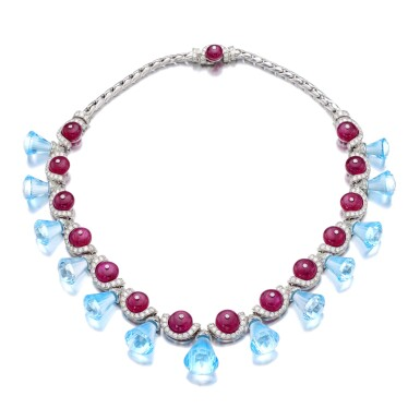 View 1. Thumbnail of Lot 35. MICHELE DELLA VALLE | RUBY, BLUE TOPAZ AND DIAMOND NECKLACE.