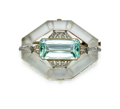 View 1. Thumbnail of Lot 9178. AQUAMARINE, ROCK CRYSTAL AND DIAMOND BROOCH | 海藍寶 配 白水晶 及 鑽石 別針.