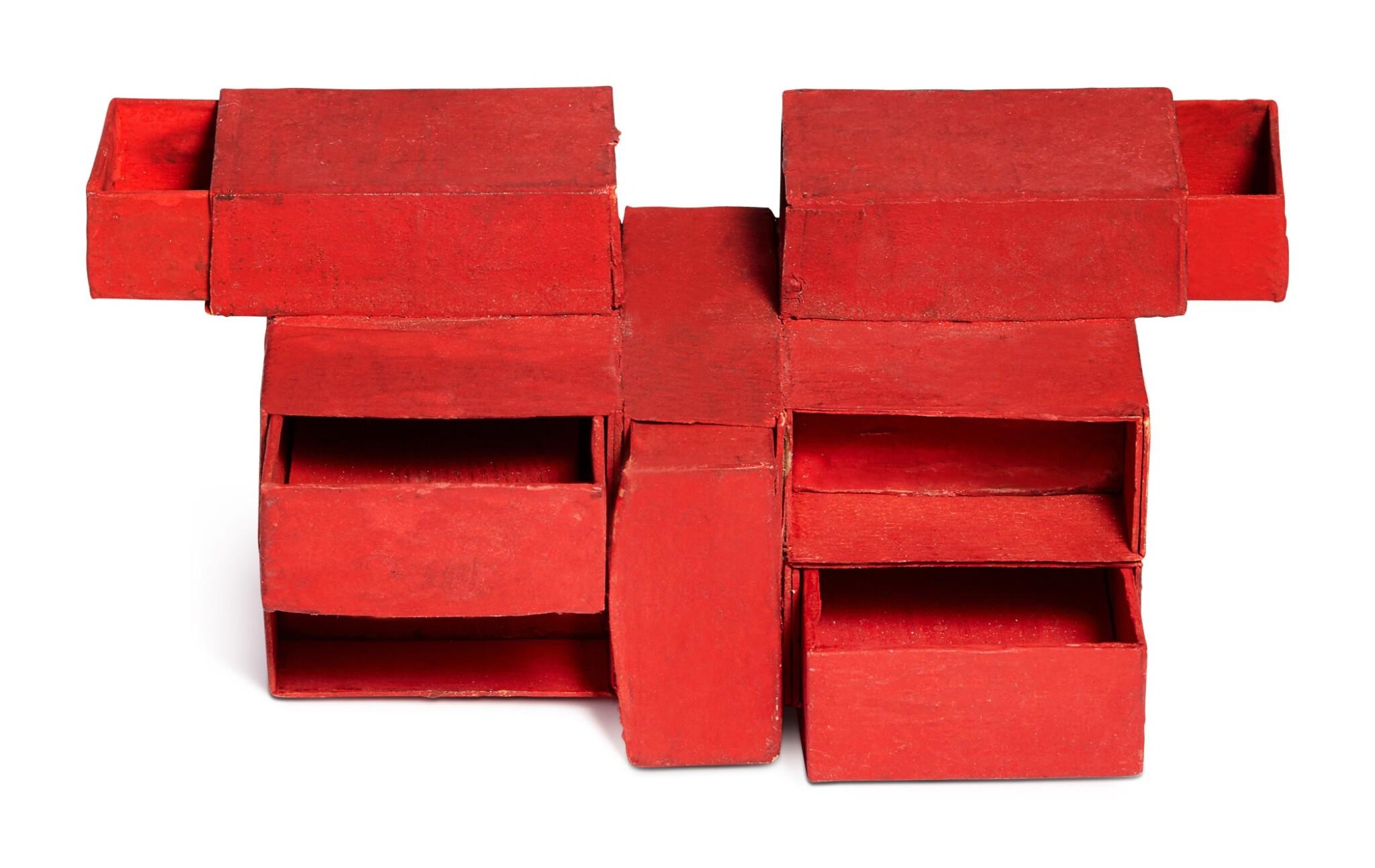 View full screen - View 1 of Lot 237. Estrutura de caixas de fósforos vermelho (7 caixas).