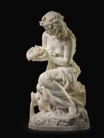 ALBERT-ERNEST CARRIER-BELLEUSE | JEUNE FILLE TENANT UN NID (YOUNG WOMAN HOLDING A BIRD'S NEST)