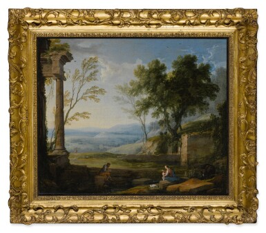 View 2. Thumbnail of Lot 640. Classical landscape with ancient ruins, figures in the foreground.