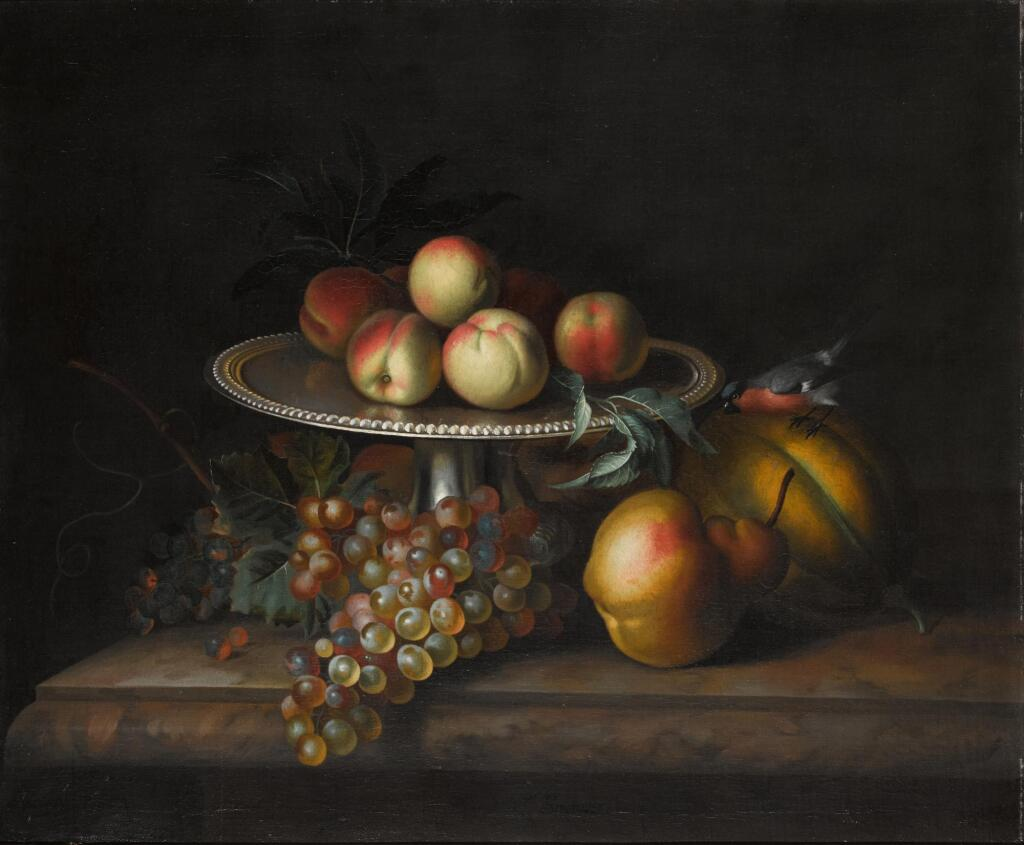 TOBIAS STRANOVER | Peaches on a silver tazza with grapes, a pear, a melon and a bird on a marble ledge