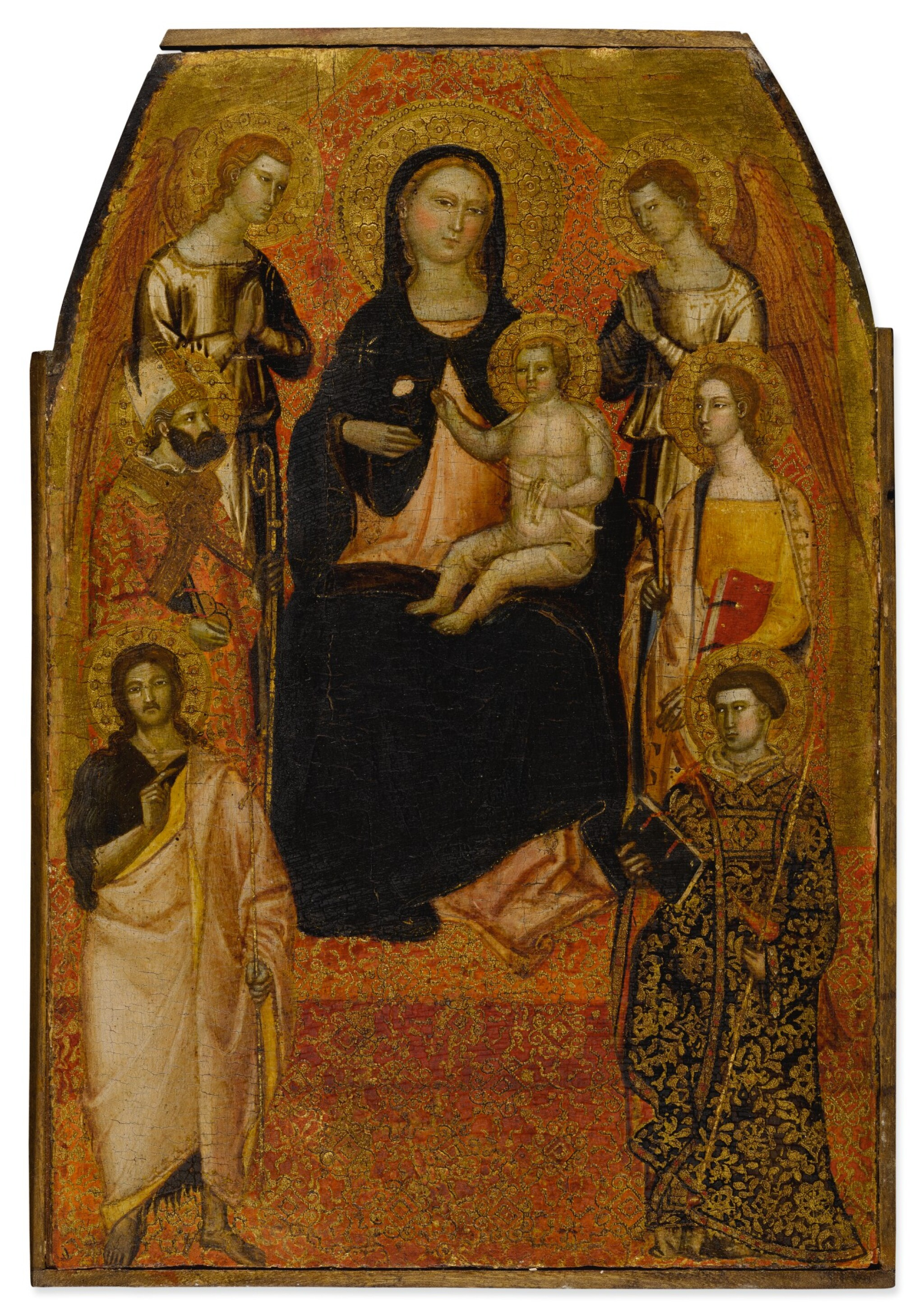 Madonna and Child Enthroned Between Two Angels and Saint Nicholas, Catherine of Alexandria, John the Baptist and Lawrence