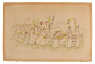 """GREENAWAY   Procession of Maidens (""""Happy Returns of the Day""""), pencil and watercolour drawing, 1886"""