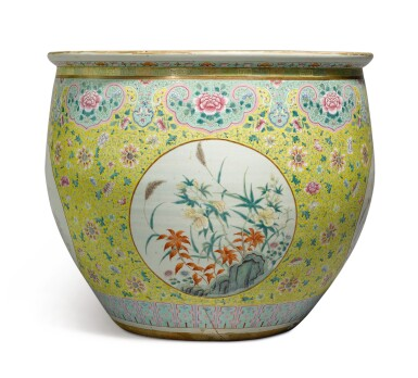 View 1. Thumbnail of Lot 1156. A VERY LARGE YELLOW-GROUND FAMILLE-ROSE FISHBOWL, 19TH / 20TH CENTURY.