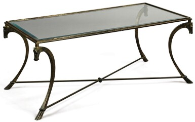 FRENCH WROUGHT IRON AND GLASS COFFEE TABLE, ATTRIBUTED TO RAMSEY, CIRCA 1945