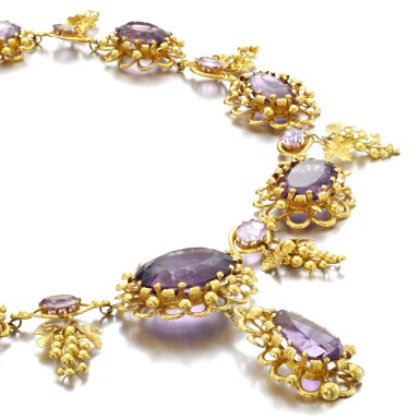 View 2. Thumbnail of Lot 50. AMETHYST AND GOLD NECKLACE, CIRCA 1830.