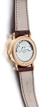 BLANCPAIN | VILLERET A PINK GOLD TRIPLE CALENDAR WRISTWATCH WITH MOON PHASES, CIRCA 2016
