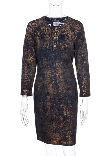 BLUE, BLACK AND METALLIC CACHEMIRE-BLEND KNIT DRESS, CHANEL