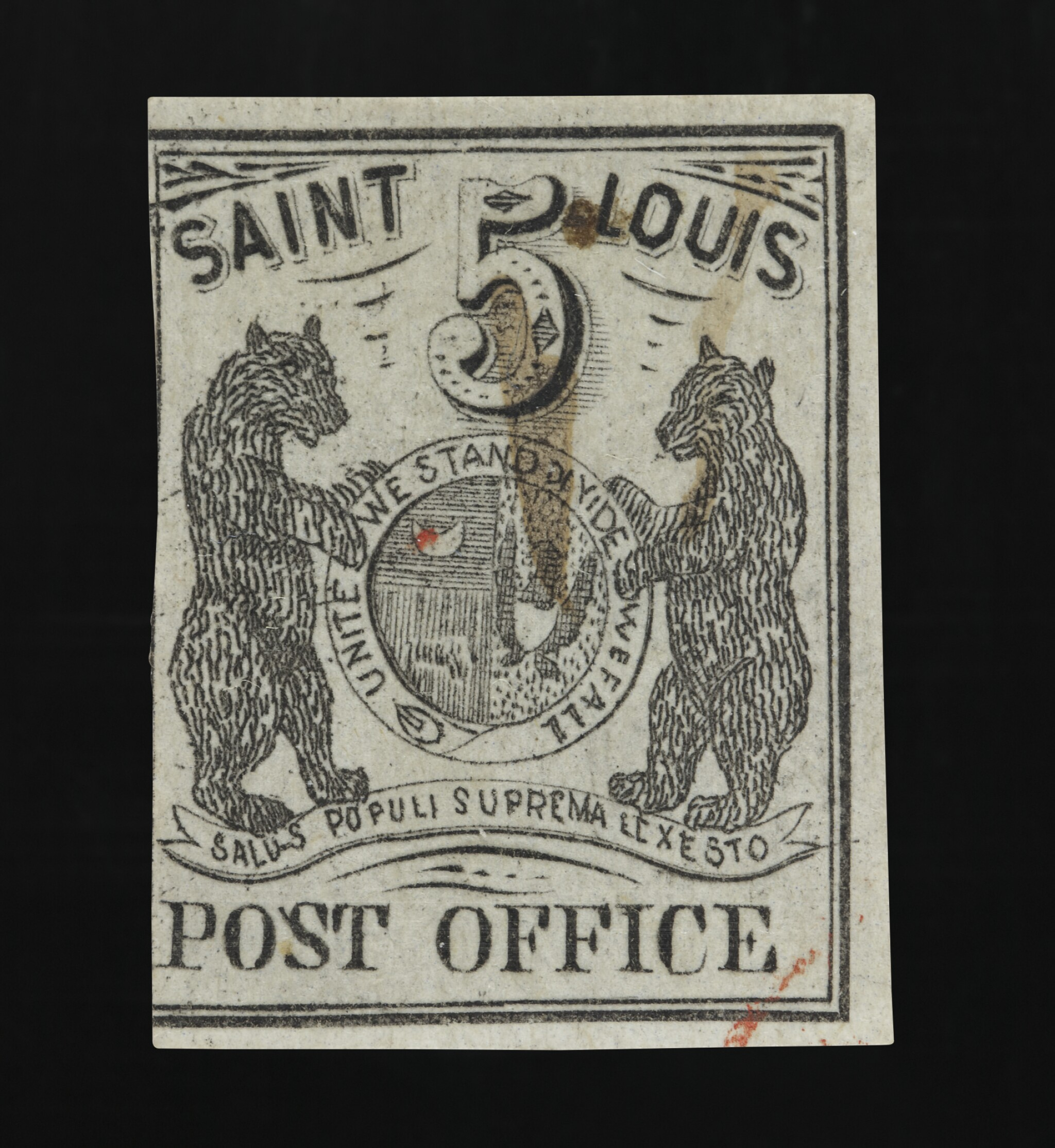 View full screen - View 1 of Lot 15. Postmaster's Provisional St. Louis, MO. 1846 5c Black (III) on gray lilac (11X4).