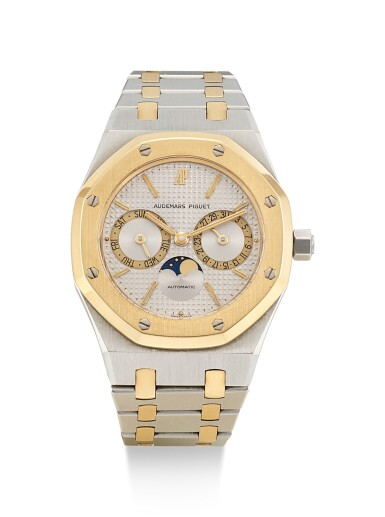 AUDEMARS PIGUET   ROYAL OAK, REFERENCE 25594SA, A YELLOW GOLD AND STAINLESS STEEL WRISTWATCH WITH DAY, DATE AND BRACELET, 1990
