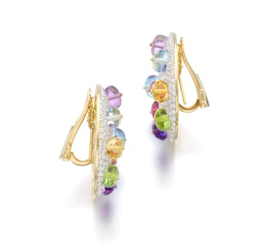 View 2. Thumbnail of Lot 1. MICHELE DELLA VALLE | PAIR OF GEM SET AND DIAMOND EAR CLIPS.