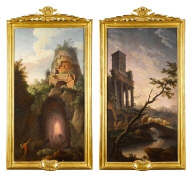 View 3. Thumbnail of Lot 39. GREGORIO FIDANZA     A VIEW OF VIRGIL'S TOMB NEAR POSILLIPO; AND AN IDEALISED VIEW OF TIVOLI INCLUDING THE BELL TOWER OF THE CHURCH OF SAN CRISOGONO IN ROME.