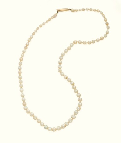 View 1. Thumbnail of Lot 45.  A PEARL NECKLACE.