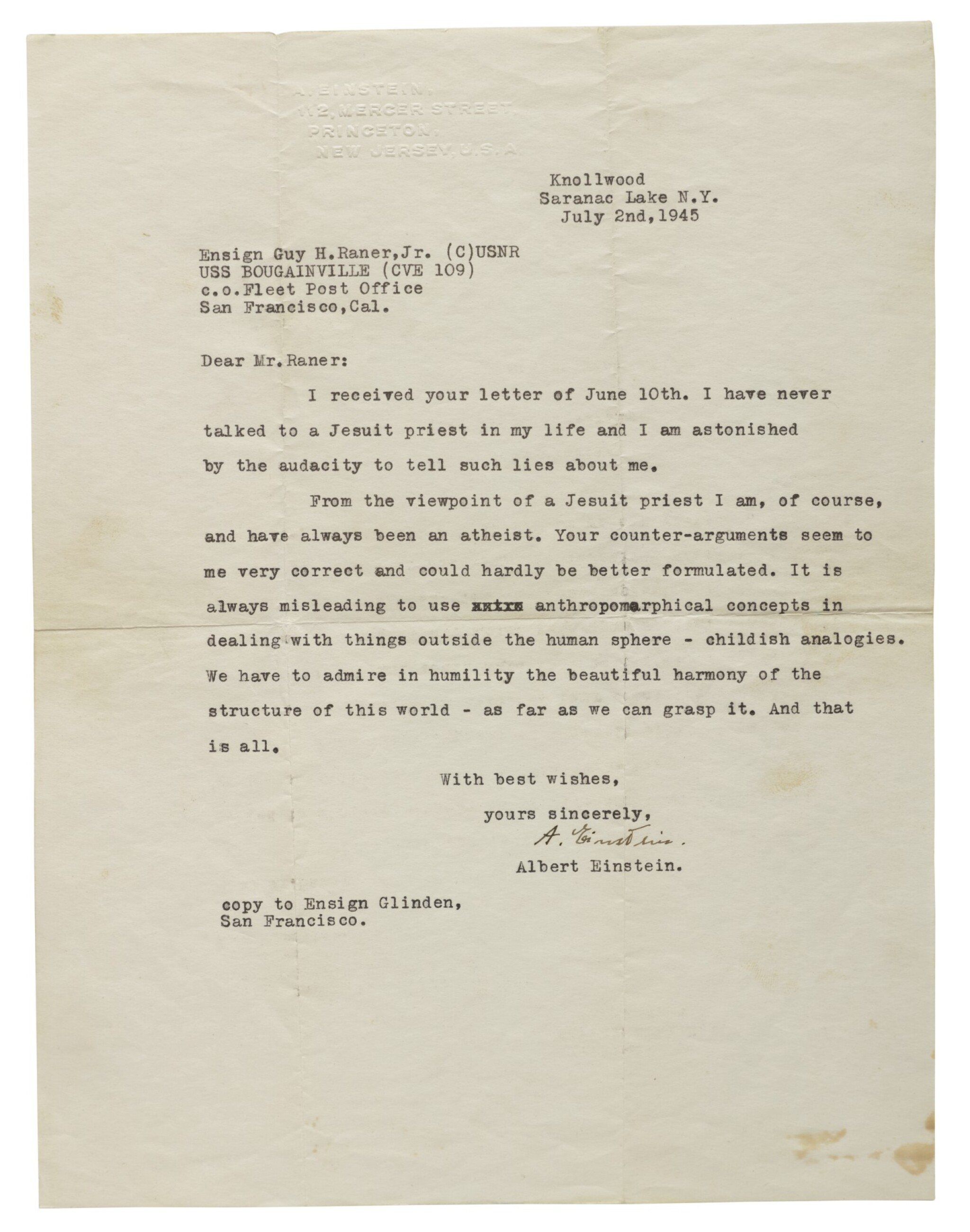 """View full screen - View 1 of Lot 38. EINSTEIN, ALBERT 