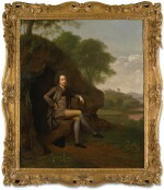 ARTHUR DEVIS | PORTRAIT OF A GENTLEMAN, POSSIBLY THE REVEREND WILLIAM OF DIGBY, OF LANDENSTOWN, COUNTRY KILDARE, FULL-LENGTH, SEATED BENEATH A TREE, A GUN AND PHEASANT BY HIS SIDE